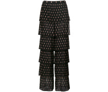 layered patterned trousers