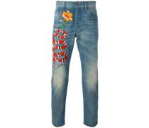 Jeans mit Schlangen-Stickerei - men - Baumwolle
