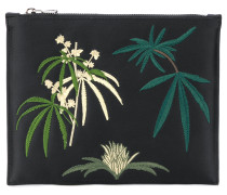 leaf embroidered clutch