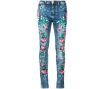 Skinny-Jeans mit floraler Stickerei - women