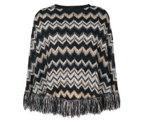 fringed trim knitted cape