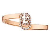 GG Rotgoldring mit Diamanten