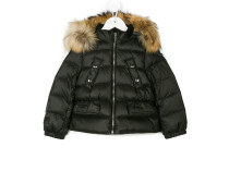 raccoon fur hooded coat