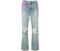 Boyfriend-Jeans mit Farbklecks-Print