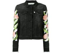 - floral sleeve denim jacket - women