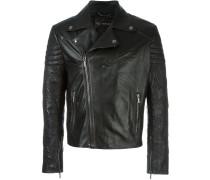 patterned sleeves biker jacket