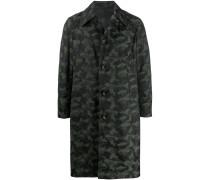 Einreihiger Mantel mit Camouflage-Print