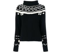 Bestickter Pullover weitem Stehkragen