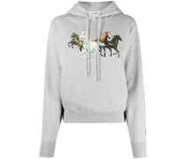 Kapuzenpullover mit Pferde-Print
