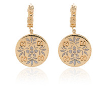 Gold and enamel Icon floral earrings