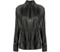 chest slit high neck blouse
