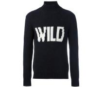 """Intarsien-Pullover mit """"Wild""""-Schriftzug"""