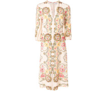 patterned midi shift dress