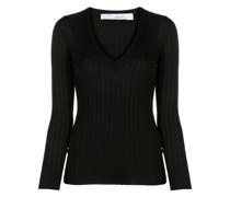 V-neck ribbed-knit jumper