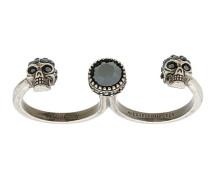 skull double finger ring
