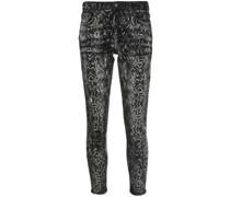 Skinny-Jeans mit Schlangenleder-Print