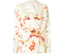 embroidered wrap jacket - women - Seide - 6