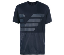 panelled logo print T-shirt