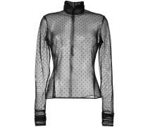 Gepunktete Bluse mit semi-transparentem Design