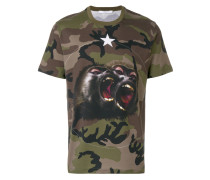 Monkey Brothers motif camouflage T-shirt