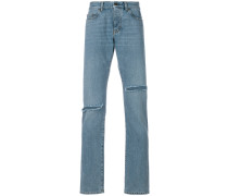 distressed low rise jeans
