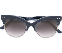 Cat-Eye-Sonnenbrille mit Ledereinsätzen