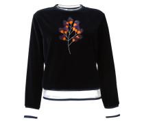 Samt-Pullover mit Nerzbesätzen