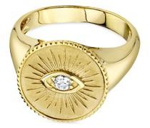 14kt Gelbgoldring mit Evil Eye und Diamant