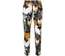 Cropped-Hose mit Katzen-Print