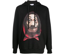 long-sleeved photographic print hoodie