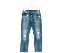 distressed embellished jeans