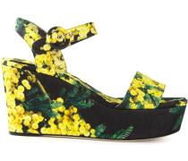 Brokat-Wedge-Sandalen mit Akazien-Print