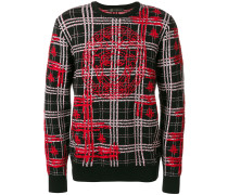 medusa embroidery checked jumper