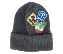 patch embroidered beanie hat - men - Wolle