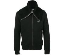 Sweatshirtjacke mit geripptem Kragen