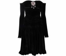 Schulterfreies Kleid mit Kristallen