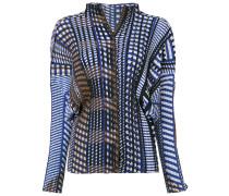 Plissierte Bluse mit geometrischem Print