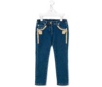 Jeans mit Spitzenbesatz