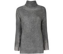 Gerippter Pullover in Metallic-Optik