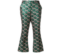 patterned kick flare trousers