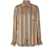 Oversized-Seidenhemd mit Streifen