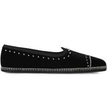 Samt-Loafer mit Nieten