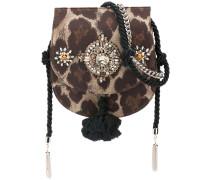 canvas embellished shoulder bag