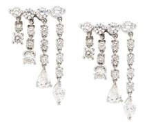 18kt Weißgold-Hängeohrringe mit Diamanten