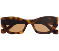 tortoiseshell-effect tinted square sunglasses