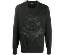 embroidered wool-silk mix sweatshirt