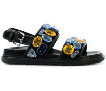 'Fussbett' Sandalen mit Schmucksteinen