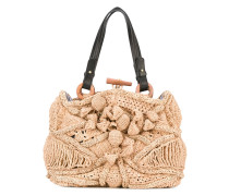 straw bag - women - Raffiabast/Leder