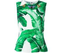 embellished banana leaf print top