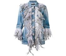 denim feather front jacket - women